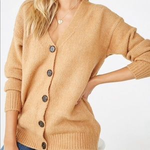 Forever 21 Tan Marled Chunky Knit Cardigan Size L